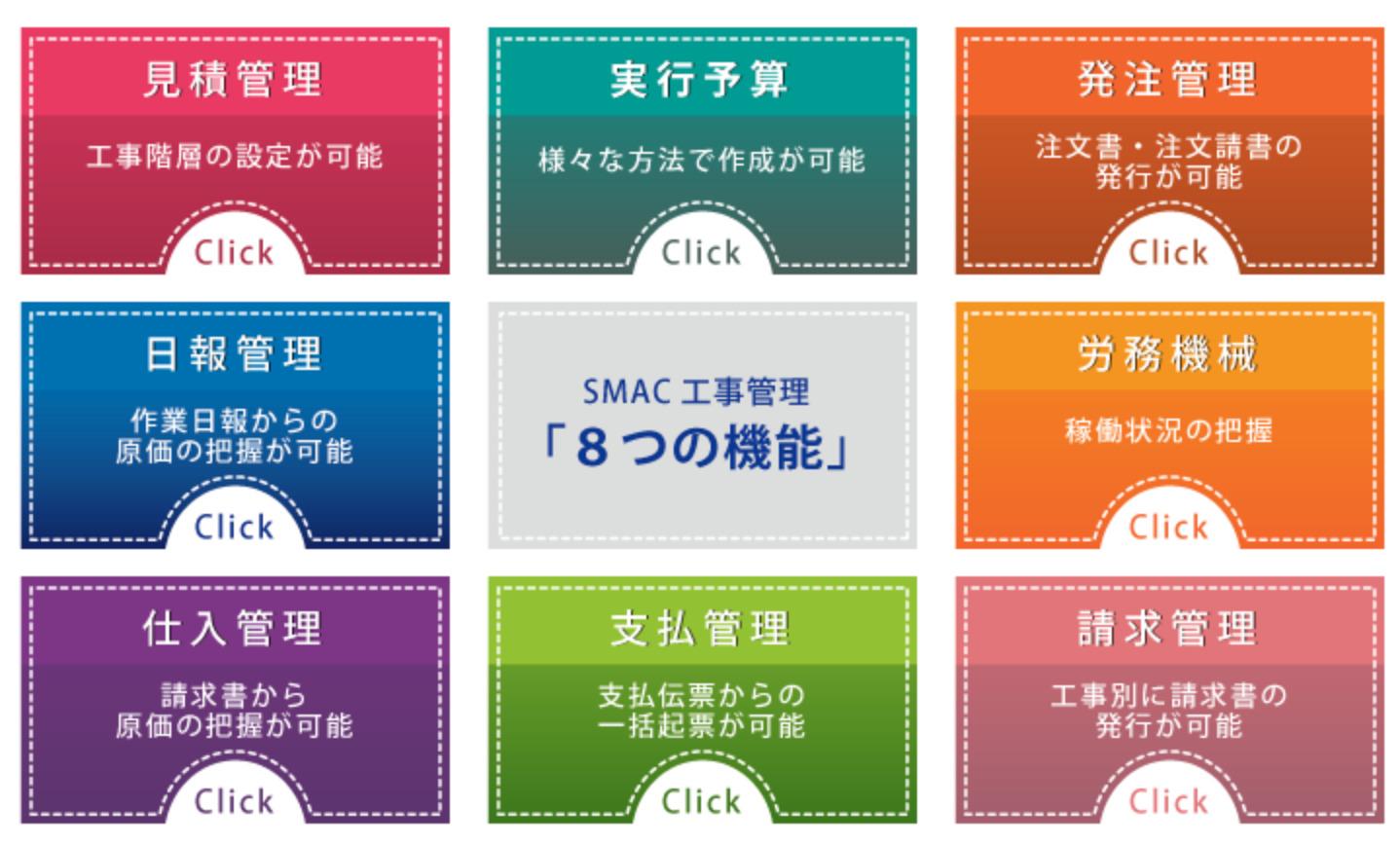 SMAC工事管理8つの機能